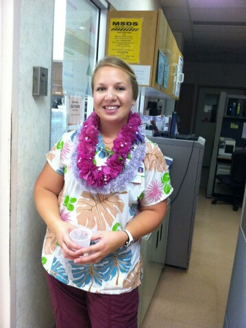 Amanda: I am from Wichita, Kansas and earned my BSN from Wichita State University three and a half years ago. I have been working as a travel nurse for a year and a half now. This photo was taken on my last night of my travel assignment in Kauai, Hawaii. My coworkers made food and leis for my last night of work at Wilcox Memorial Hospital in Lihue, Hawaii.