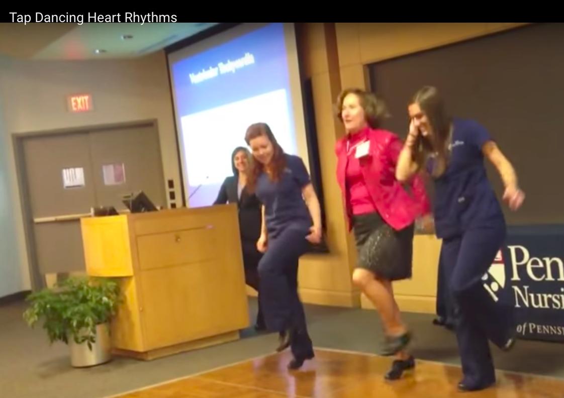 Video still: Tap dancing ECG rhythms with Kathy McCauley!
