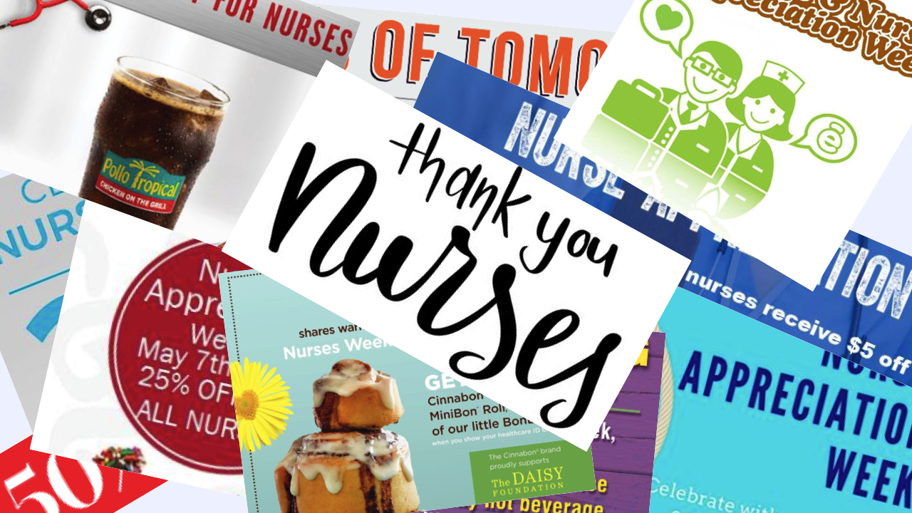 Collage: Nurses Week Massive List of Special Offers
