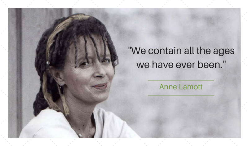 "Anne Lamott quote: ""We contain all the ages..."""