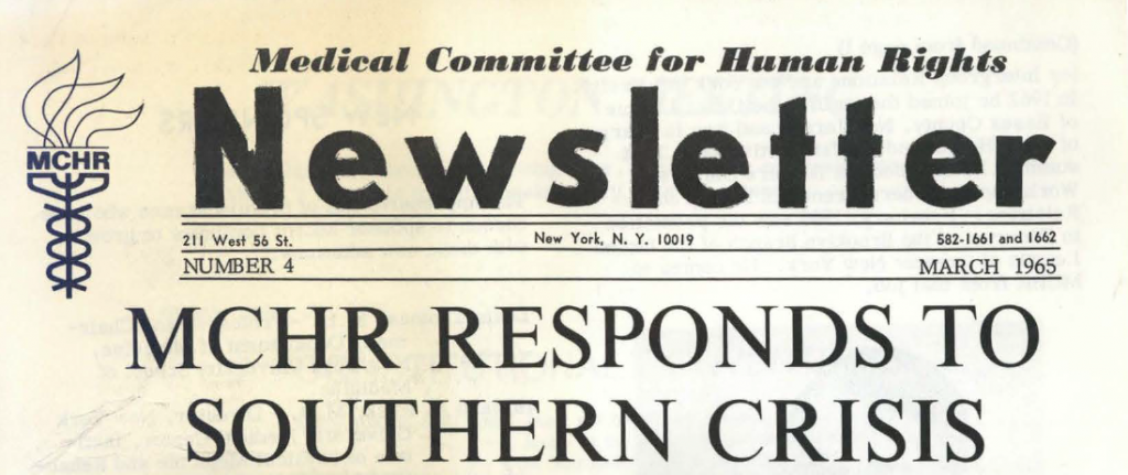 "1965 MCHR newsletter: ""MCHR Responds to Southern Crisis"""