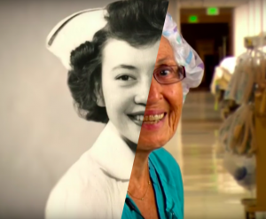 Florence Rigney, 92-years-old nurse, then and now (composite image)
