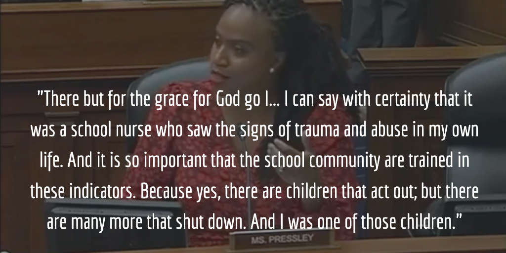 Quote image: Rep. Ayanna Pressley on childhood trauma and the school nurse who saw