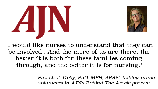 Quote image: Retired nursing professor Pat Kelly talks about nurses volunteering at the border with AJN's Behind The Article podcast