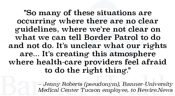 Quote image: Banner Health employee on conditions of migrant care