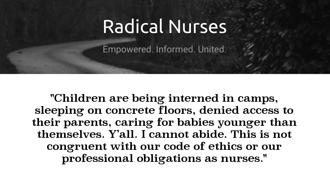 Quote image: Radical Nurses on the detention of migrant children
