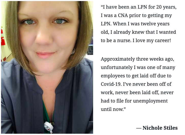 "Photo: Nichole Stiles. ""I have been an LPN for 20 years.."""