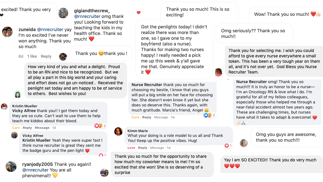 Thank you notes and comments from recipients of our Nurses Week 2021 Giveaway