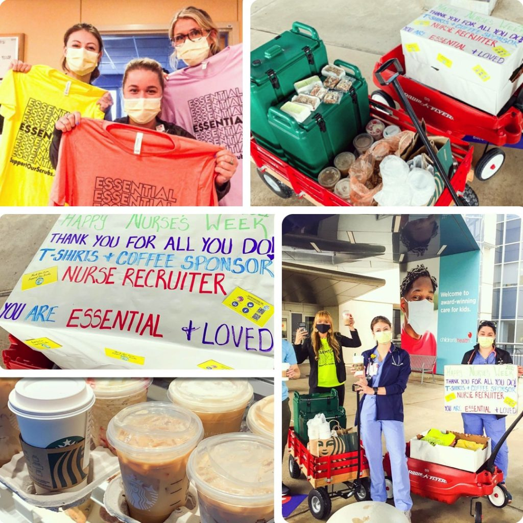 Support Our Scrubs delivered t-shirts, coffee and snacks on behalf of NurseRecruiter.com!