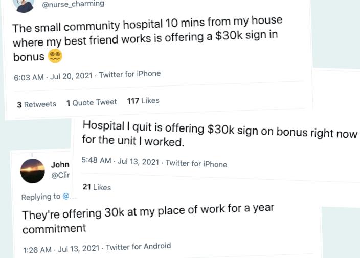 Nurses tweet about bonuses: three examples