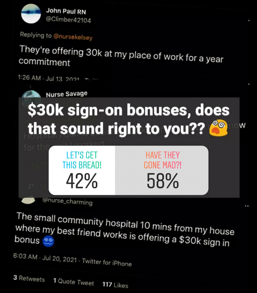 Instagram poll results: $30k sign-on bonuses, does that sound right to you?